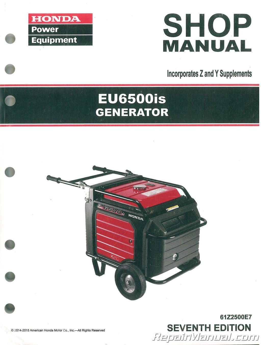 Amazon.com: 61Z2500E7 Honda EU6500 EU6500is Generator Service Repair Shop  Manual: Manufacturer: Books
