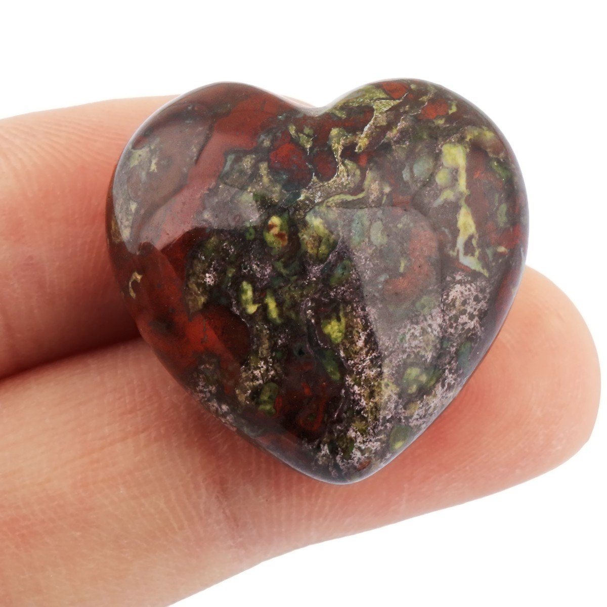 SUNYIK Dragon Blood Jasper Carved Puff Heart Pocket Stone,Healing Palm Crystal Pack of 10(0.8'') by SUNYIK (Image #3)