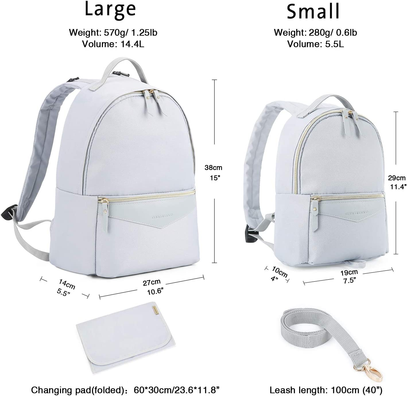 2 Piece Set mommore Changing Bag Backpack with Small Toddler Leash Backpack for Mother-Daughter Matching Look Grey