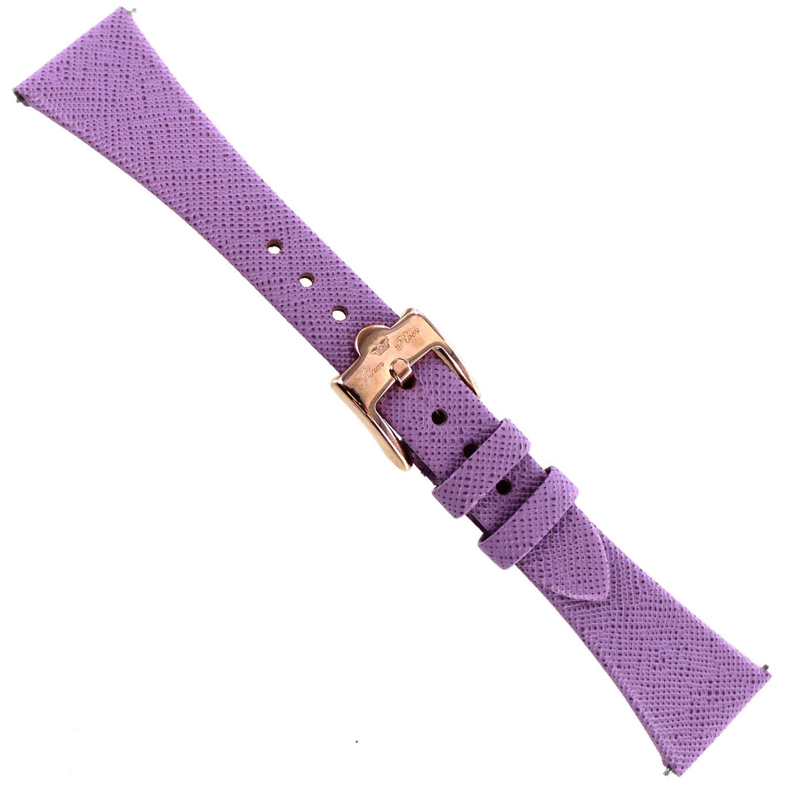 20mm Glam Rock Lavender Saffiano Genuine Leather Unstitched Watch Band EZ PINS
