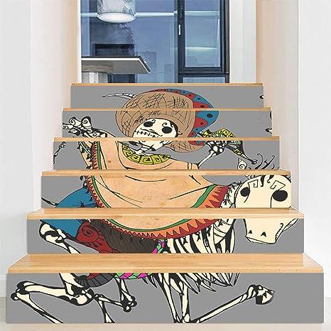 YOLE Decoraciones De Halloween Diseño De Escaleras De La Casa Embrujada, Pegatinas De Escaleras Traviesas De Terror, Pegatinas De Pared De Puerta De Vidrio De Ventana De Festival Fantasma,I: Amazon.es: Deportes y