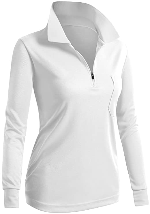 CLOVERY Women's Active Wear POLO Pocket Shirt Long Sleeve