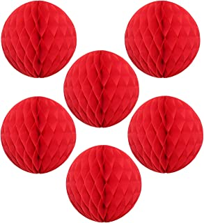 """product image for 12"""" Honeycomb Tissue Paper Ball Decoration (6-Pack, Red)"""