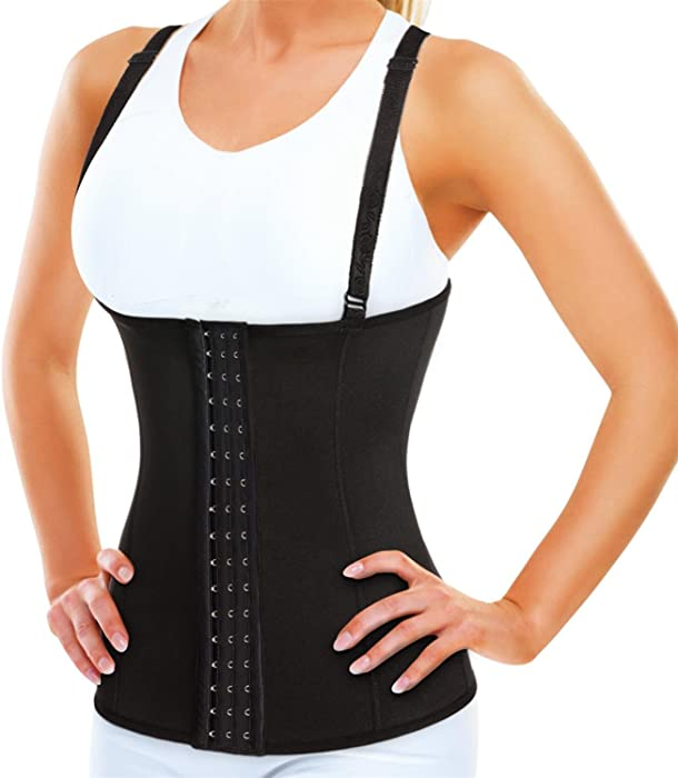 c742db7e30a Women Waist Trainer Corset with Adjustable Straps - Neoprene Sauna Sweat  Vest for Weight Loss -