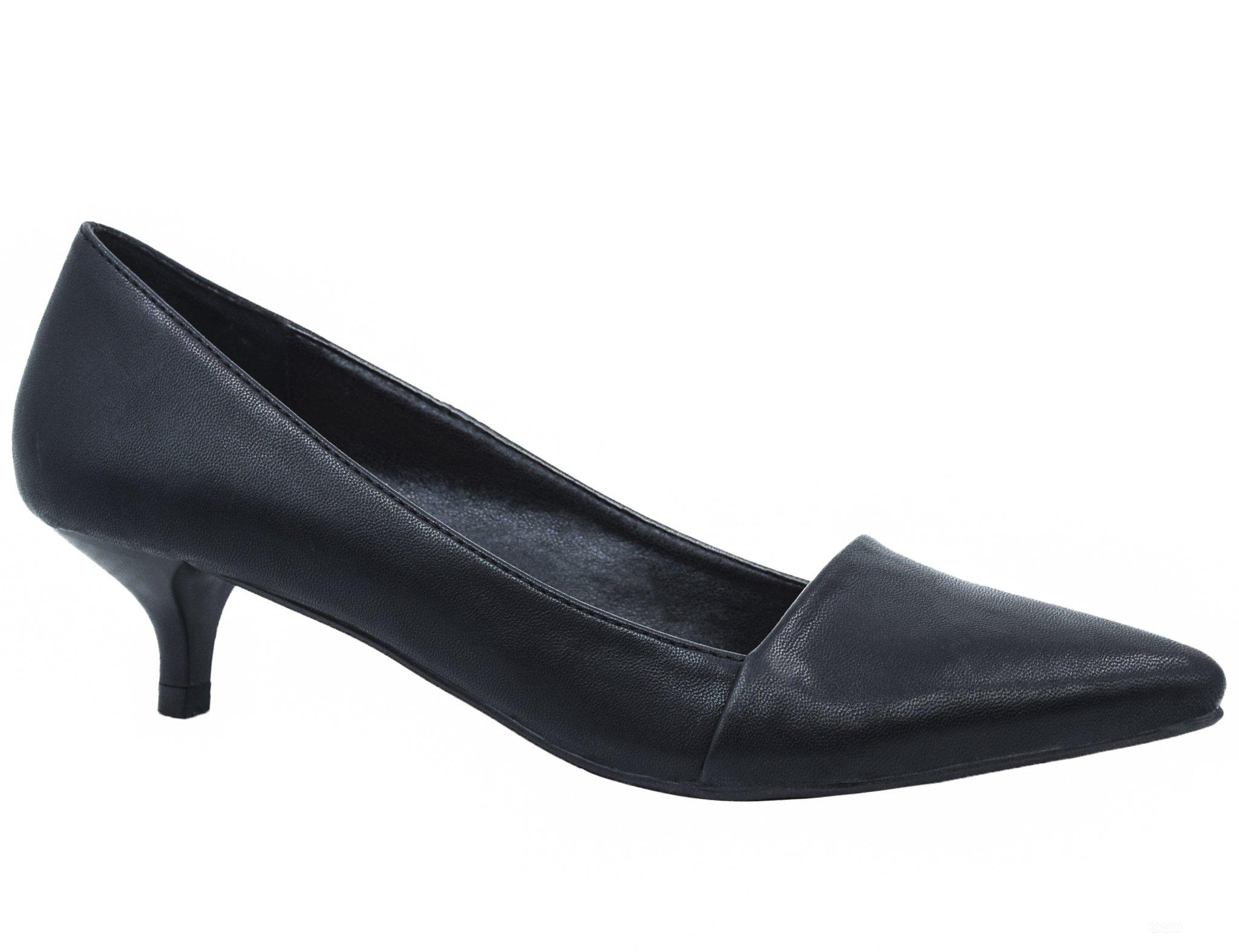 Greatonu Womens Black Comfortable Kitten Mid Low Heel Closed Toe Dress Pump Court Shoes Size 10 US/41 EU