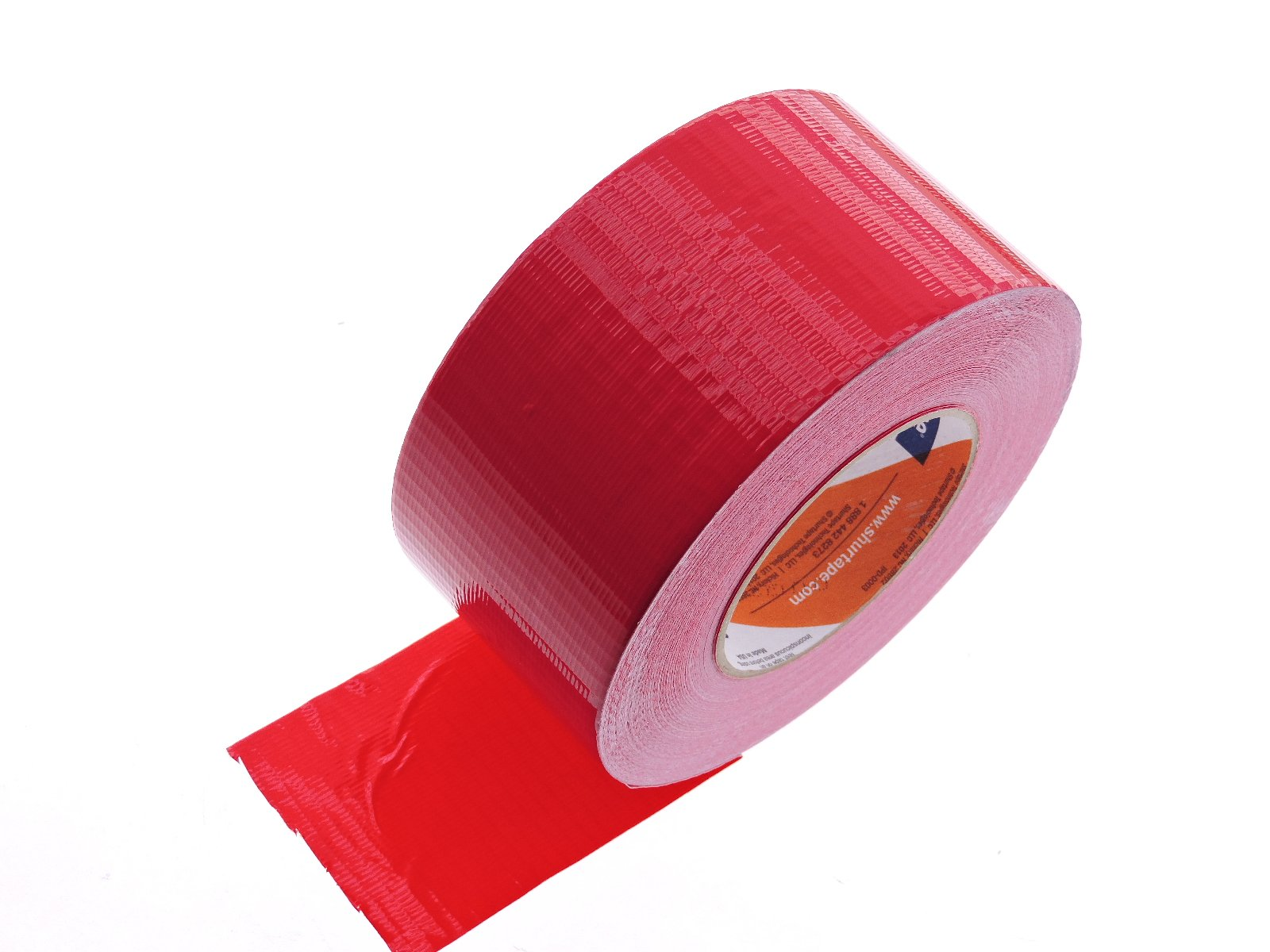 Shurtape 3'' in Red Duct Tape PC-600 Heavy 9 mil Cloth Reinforced PE Back Duct Tape Water UV Resistant Hand Tearable 60yd USA Made 50 oz inch adhesion 16% elongation 22 lb in tensile strength