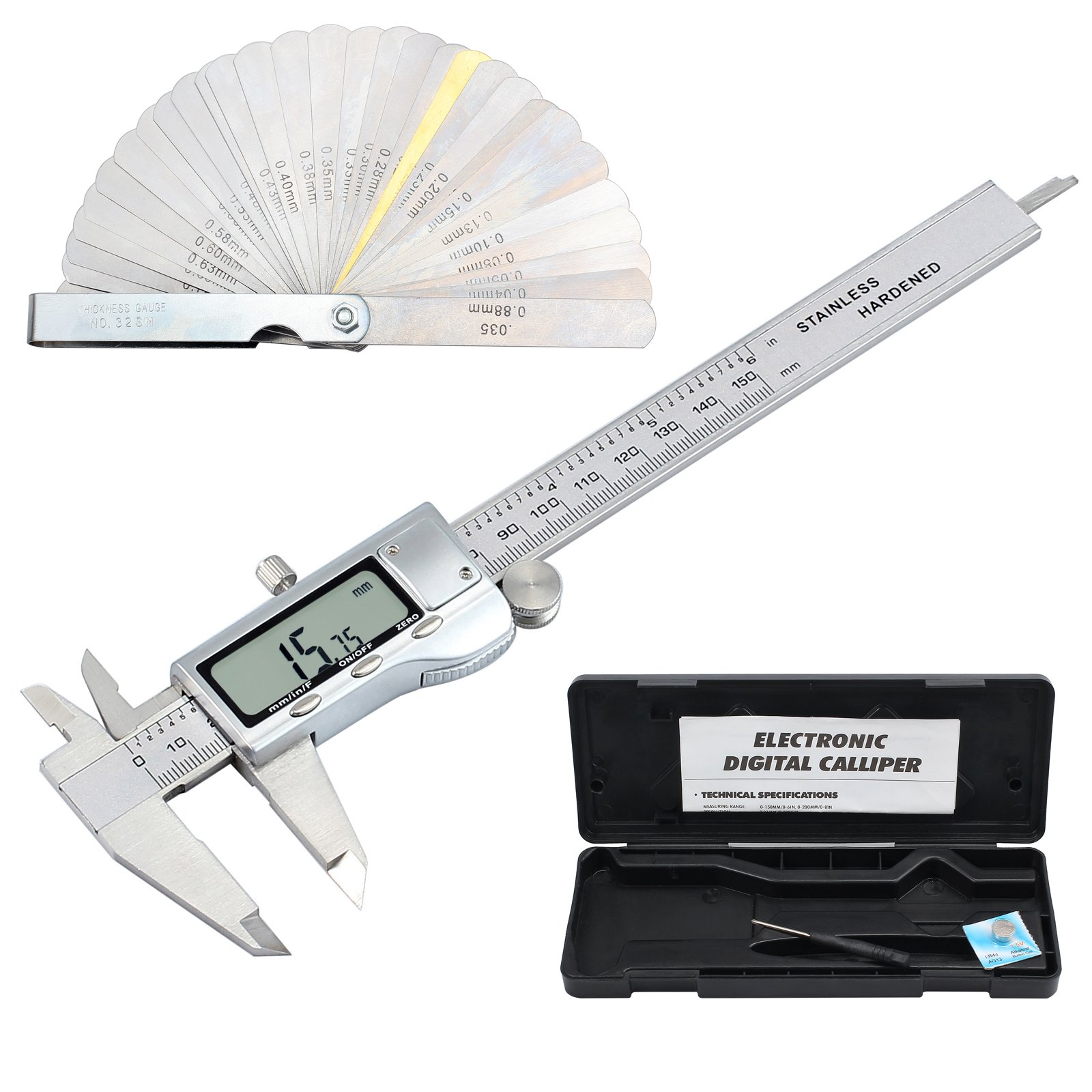 Proster 150mm/6inch Digital Caliper Vernier with 32 Feeler Gauge Stainless Steel Electronic Caliper LCD Fractions/Inch/Metric Measuring Tool for Length Width Depth Inner Diameter Outer Diameter
