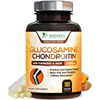 Glucosamine with Chondroitin Turmeric MSM Supplement, Triple Strength Standardized 1500mg with Boswellia & Bromelain - Made in USA - for Healthy Joint Support & Comfort - 180 Capsules