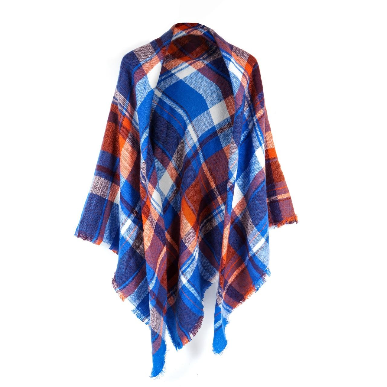 Women's Cozy Tartan Scarf Wrap Shawl Neck Stole Warm Plaid Checked Pashmina (Blue Orange)