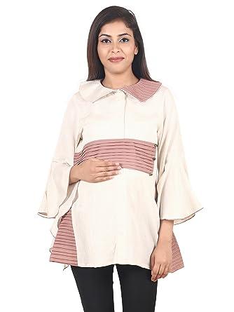 30d7b0065c53e 9teenAGAIN Women's Plain Woven Maternity Top (White/Rust): Amazon.in ...