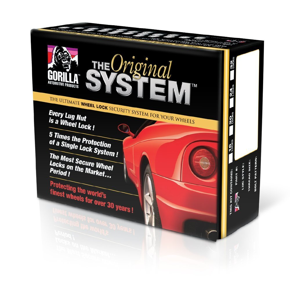 For 5 Lug Wheels 12mm x 1.50 Thread Size Gorilla Automotive 71633NBC The System Acorn Black Chrome Wheel Locks