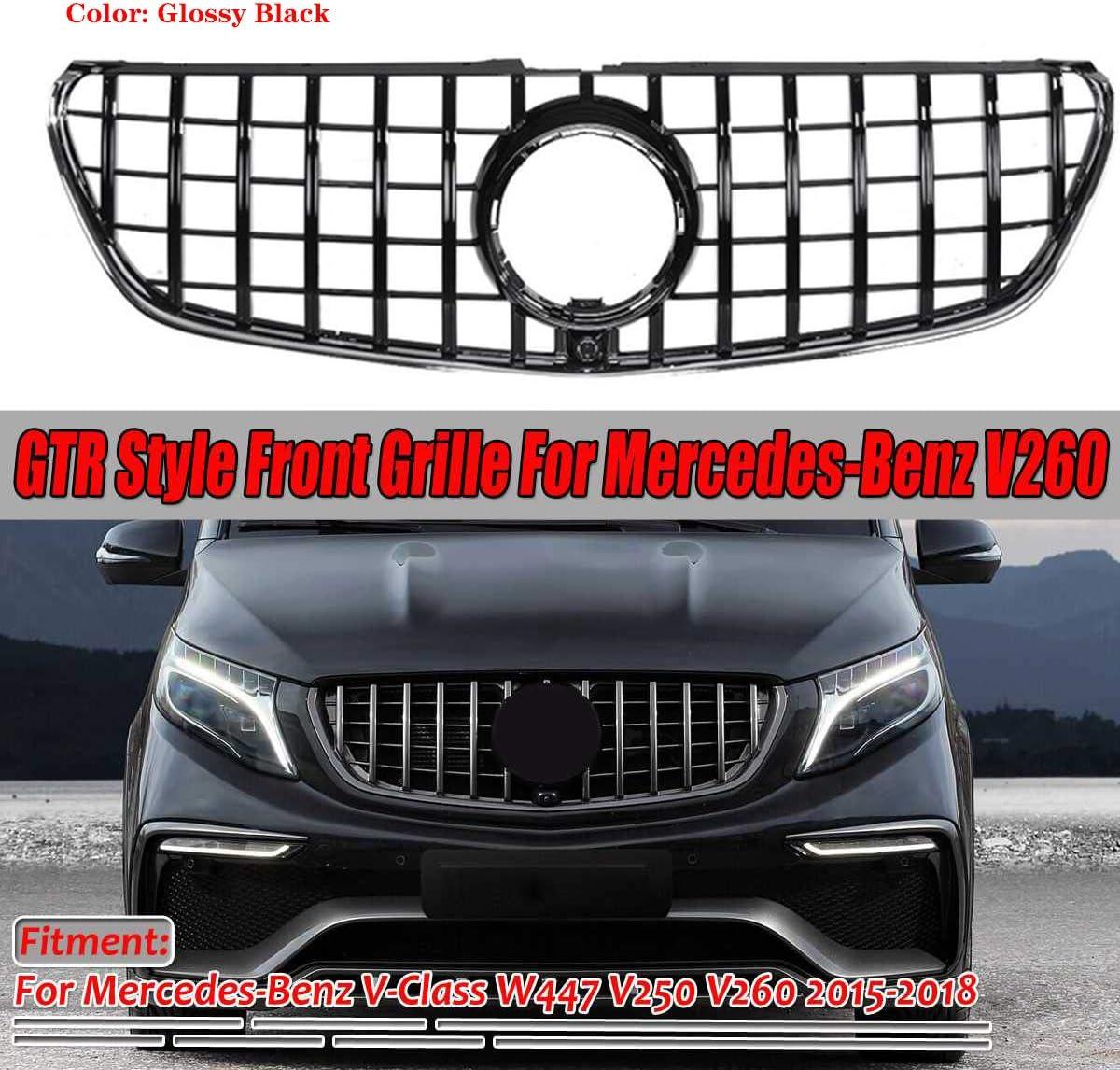 Lsybb Gtr Style Kühlergrill Auto Frontstoßstange Gt Grill Für Mercedes Benz V Klasse W447 V250 V260 2015 2018 Black Auto
