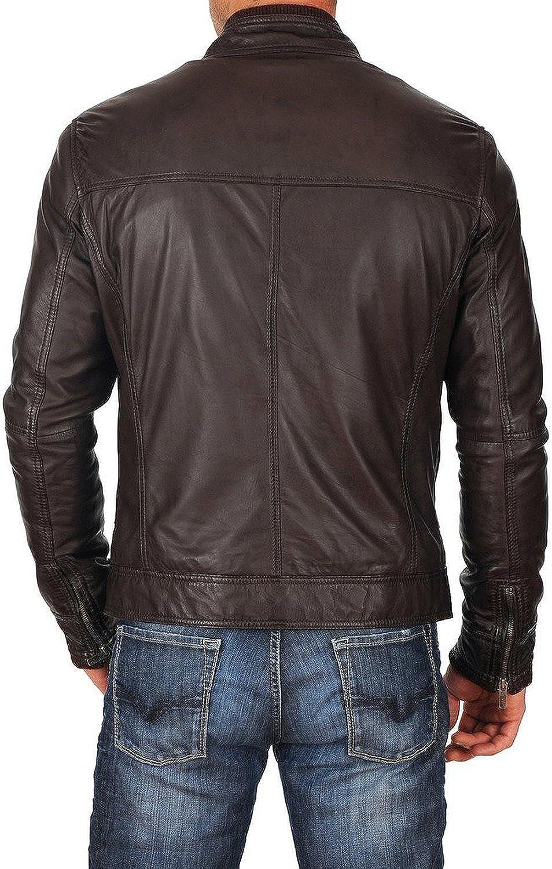 New Mens Genuine Lambskin Leather Slim Fit Biker Motorcycle Jacket for Men T494
