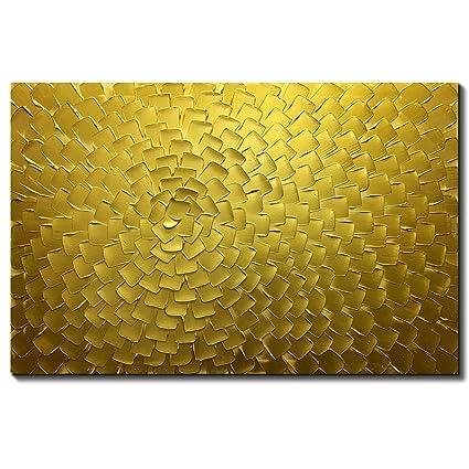 Amazon.com: Metuu Oil Paintings, Golden Flower Color Gradients ...