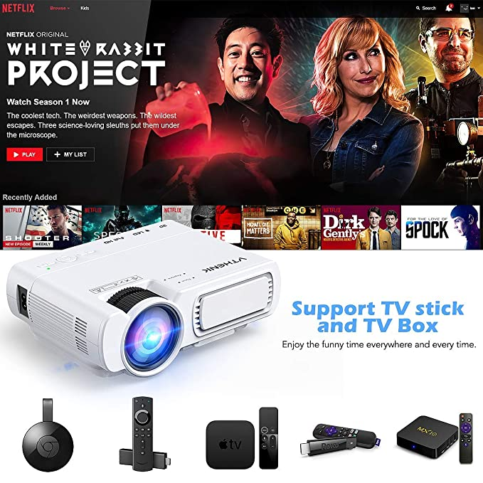 Proyector LED para Cine en casa VTHENK Mini proyector de vídeo ...