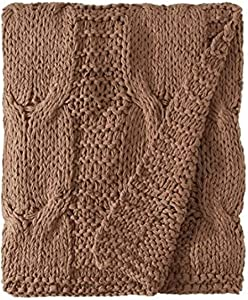 Be-You-tiful Home Michaela Walnut Brown Knitted Throw, 50 by 60-Inch