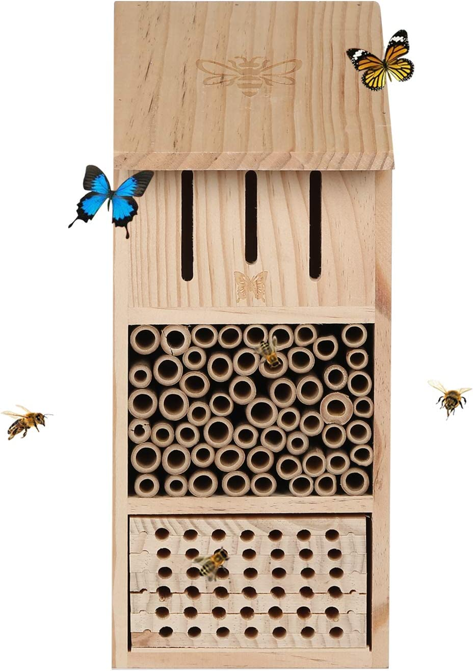 """TZSSP Bee House Hotel Butterfly Houses Outdoor Multi Quality Wooden Insect Hotels Large Size 15"""" H"""