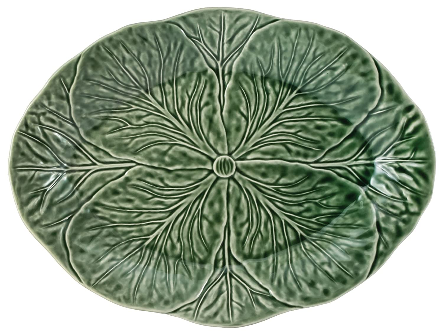 Christmas Tablescape Décor - Majolica Green Cabbage Leaf Pottery Large Oval Platter