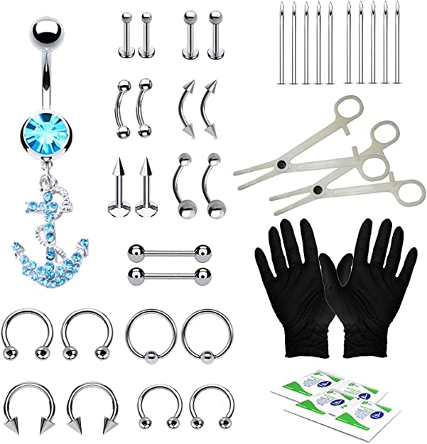 33X//Set Body Piercing welry Tool Belly Tongue Eyebrow Nipple Lip Needle Kit /&