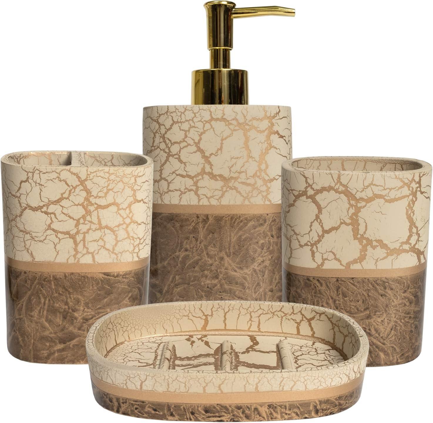 Sweet Home Collection Bathroom Accessories Collection Unique Decorative Beautiful Designs Bath Décor, 4 Piece Set, Parker