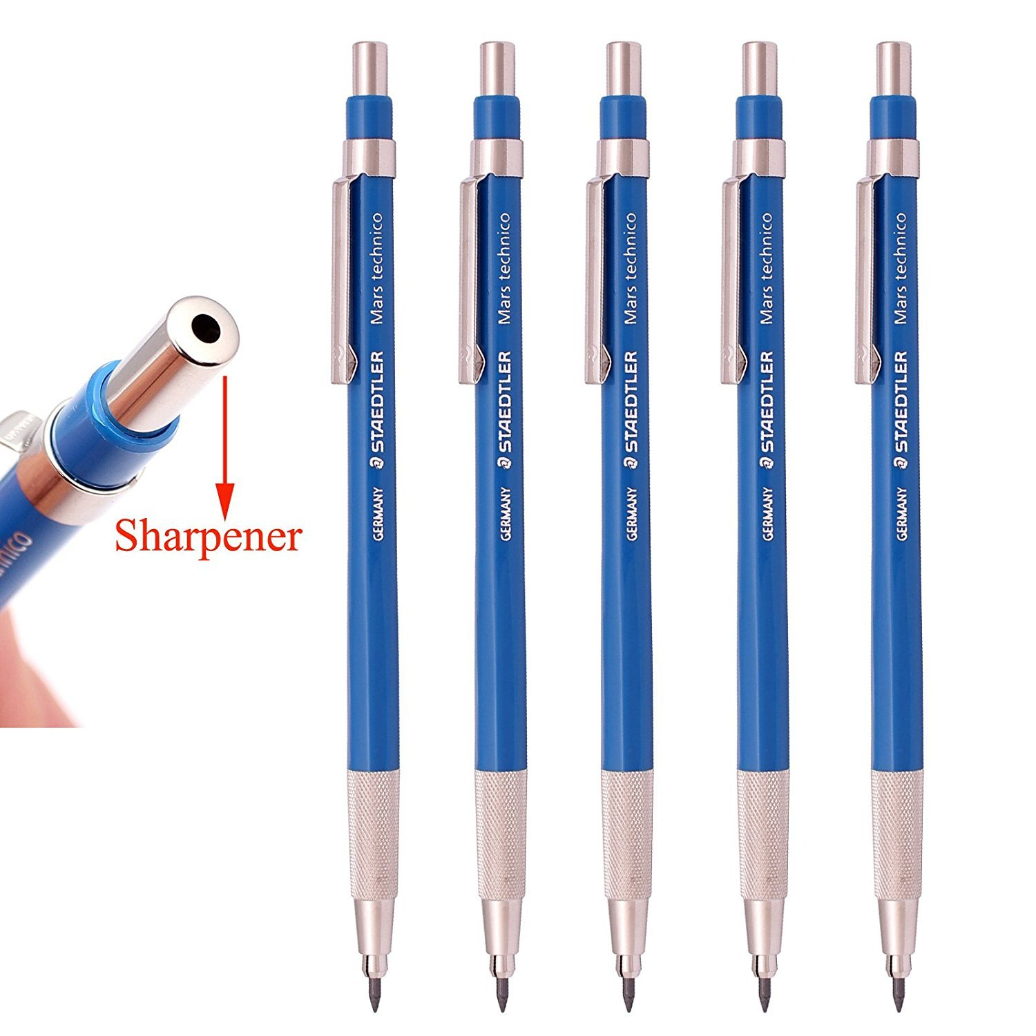 Amazon com staedtler mars technico 780c mechanical lead holder clutch pencil for draft drawing art sketching sharpener pack of 5 office products