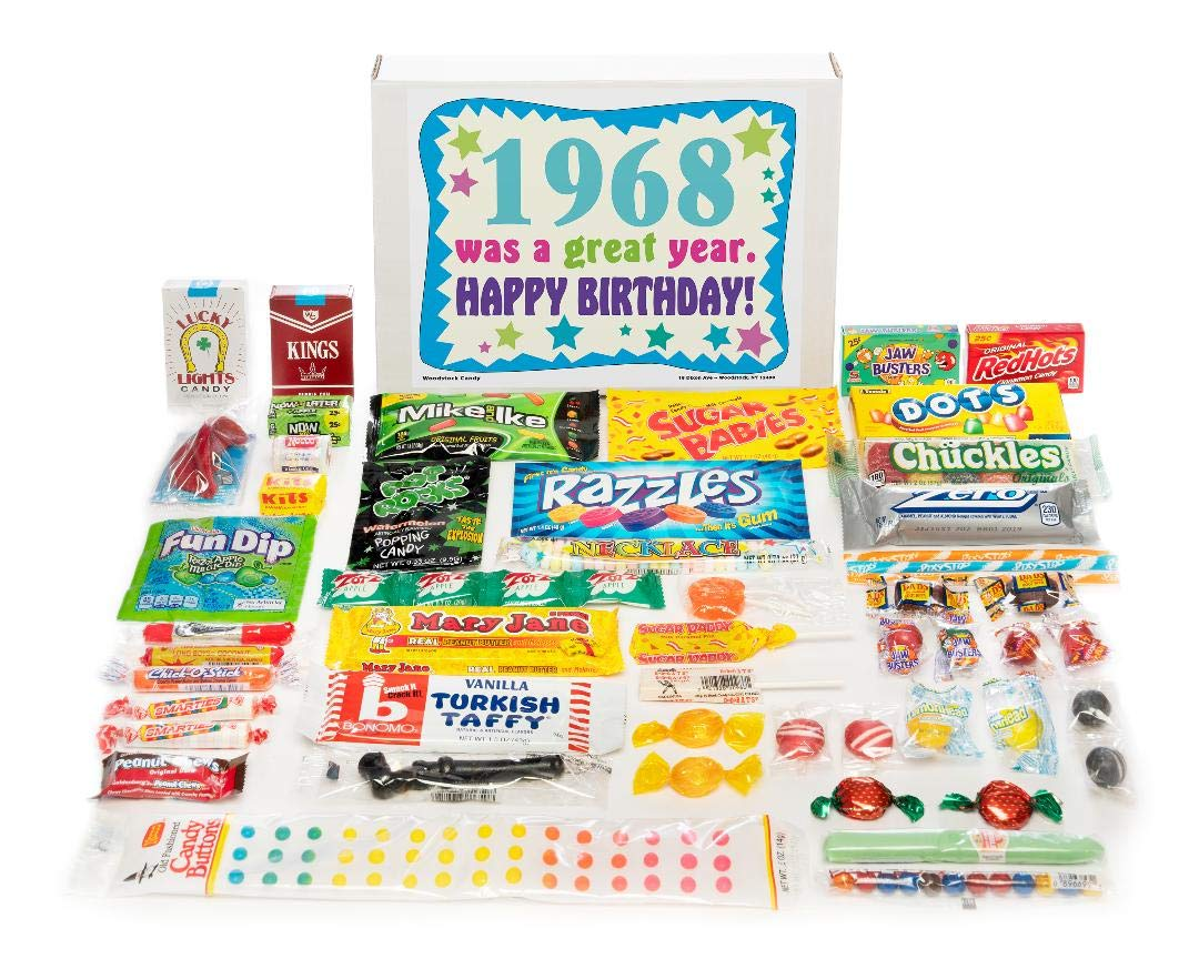 Woodstock Candy ~ 1968 53rd Birthday Gift Box Nostalgic Retro Candy Assortment from Childhood for 53 Year Old Man or Woman Born 1968