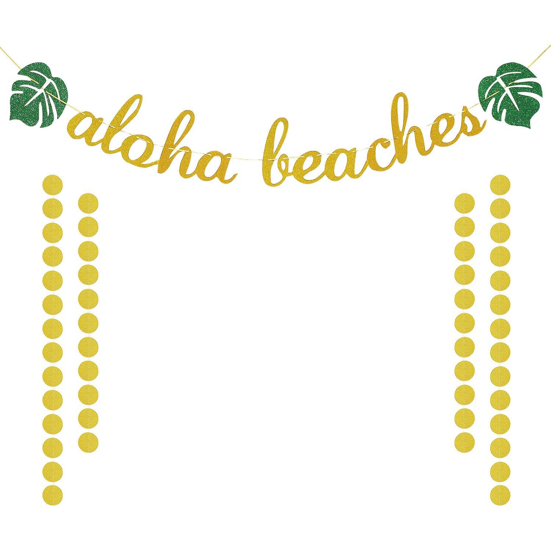 Hawaiian Aloha Party Decorations | Large Gold Glittery Aloha Beaches Banner | Tropical Luau Beach Summer Party Decoration Supplies | Extra Gold Glittery Circle Dots Garland (50pcs Circle Dots)
