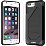 iPhone 7 Plus Case, Kuool Armor Heavy Duty Hybrid Flexible Dual Layer Anti-slip Full Protection Cover with Free Tempered Glass Screen Protector for iPhone 7 Plus-Black