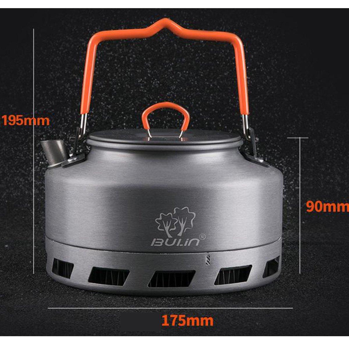 1L Tentock Hervidor de Camping de Aluminio Calentamiento R/ápido Tetera Port/átil Al Aire Libre Recogida de Calor 1.1L 1.6L