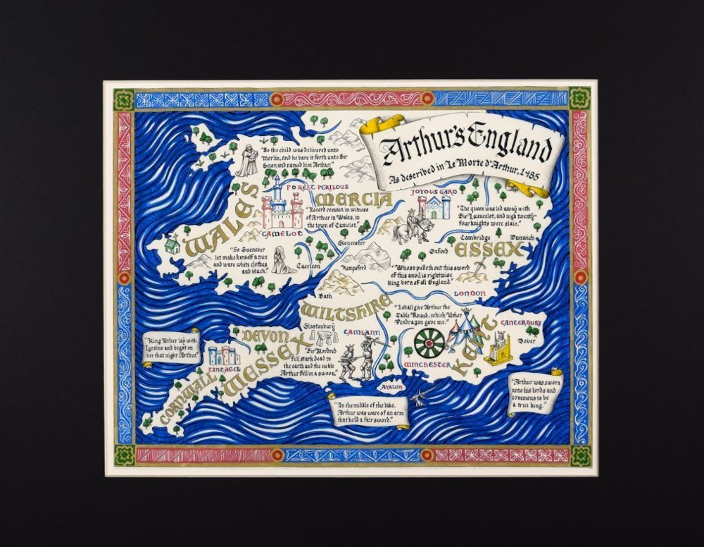 Map of King Arthur's England Described by Thomas Malory in Hand Lettered King Of England Map on counties in england, norwich england, hull england, newcastle england, reading england, northumberland england, cumbria england, norfolk england, world map england, wessex england, sunderland england, lincolnshire england, blackpool england, cornwall england, leeds england, broadchurch england, hastings england, castles in england, wiltshire england, surrey england,