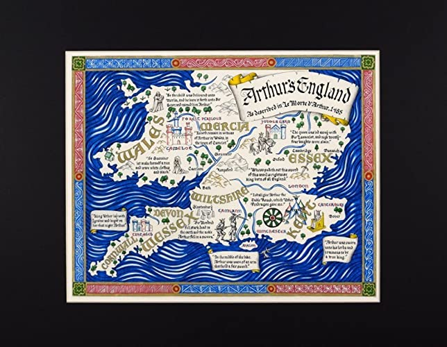 Map Of England King Arthur.Map Of King Arthur S England Described By Thomas Malory In Hand Lettered Calligraphy Fine Art Print Reproduction
