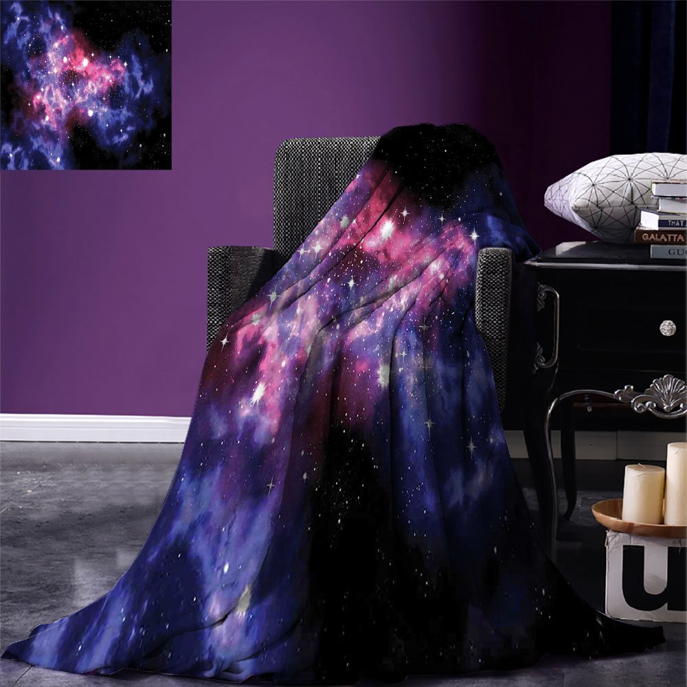 smallbeefly Space Decorations Super Soft Lightweight Blanket Dusty Gas Cloud Nebula and Star Clusters in the Outer Space Cosmos Solar Deco Print Oversized Travel Throw Cover Blanket Navy Purple