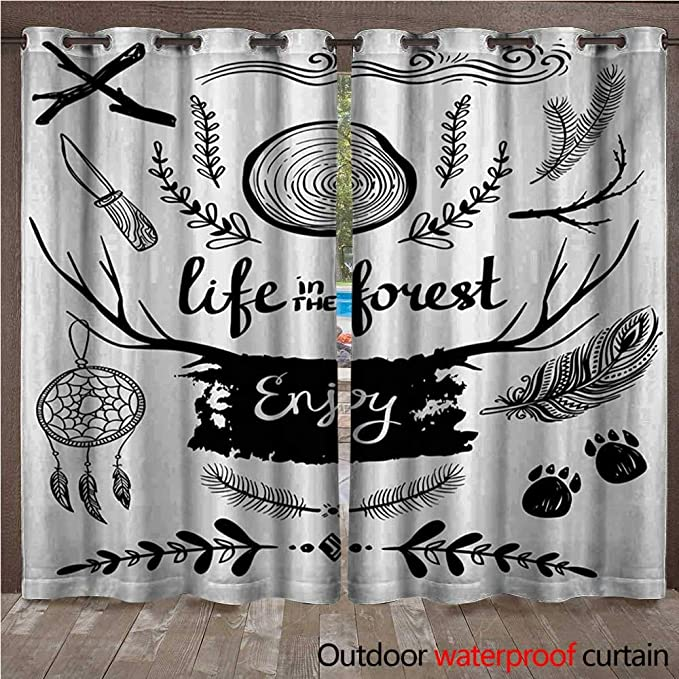 Amazon.com : WilliamsDecor Adventure Home Patio Outdoor Curtain Mountains are Calling Quote Travel Outdoors Inspirational Grunge W96 x L84(245cm x 214cm) ...