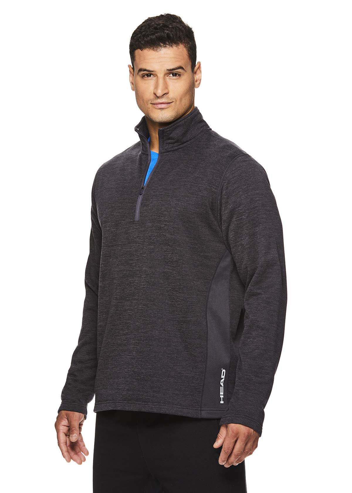 HEAD Men's 1/4 Zip Up Activewear Pullover Jacket - Long Sleeve Running & Workout Sweater - Warm Up Nine Iron Heather, Small