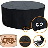 "Fellie Cover Patio Table Chair Cover Round, Patio Dining Table Cover Water Resistant Outdoor Furniture Cover, 88""Dia x 37""H, All Weather Protection"