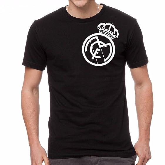 MO Real Madrid Camiseta Tee Negro Personalizado gráfico Camiseta Jersey Futbol Futbol (S)