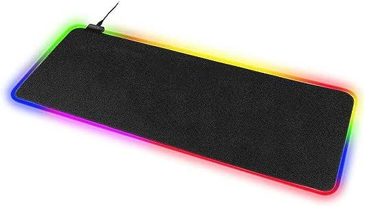 سجادة لوحة مفاتيح مضيئة ليد ملونة من الفضاء اللوني ار جي بي من تكوفن مع سجادة للماوس للعب للكمبيوتر واللاب توب Large(80*30*0.4cm) AS0027-L