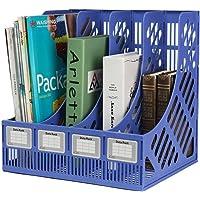Techsun 4 Compartments Plastic File Rack Paper Magazine Holder/Desk Book Sorter/Storage Display Bin Desktop Shelf…
