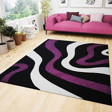 Fesselnd VIMODA Wohnzimmer Teppich Lila Schwarz Weiß Wellen Muster Friseé Flauschig  Weich Konturenschnitt, Geprüft Von Ökotex