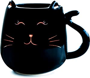Skafil Ceramic Cat Coffee Mug Cute Novelty Mug Cup Tea Cup 17 oz Great Gift for Birthday, Housewarming, Room Decor, Bar, Holiday Party (Black)