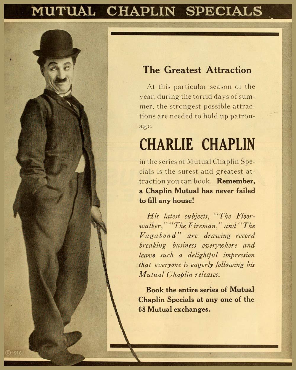 1916 Charlie Chaplin movie poster print The Floorwalker