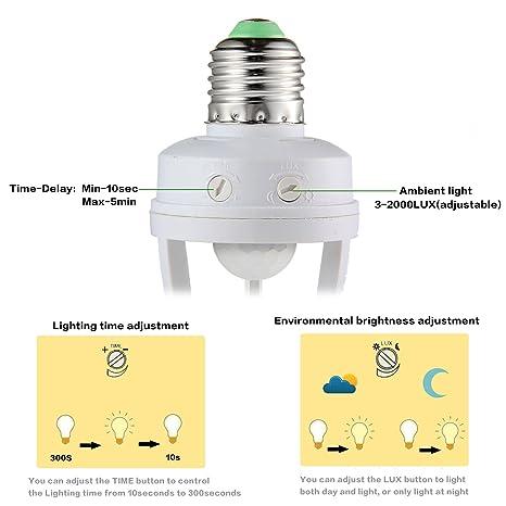 AOLVO infrarrojos sensor de movimiento luz de pedestal PIR automático LED de luz de interruptor de E27 Lámpara de soporte de tornillos de socket de peras ...