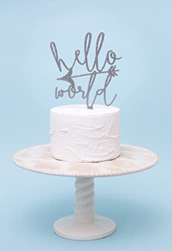 Baby Shower Cake Topper   Hello World Wanderlust Baby Cake Topper For Baby  Shower In Wood