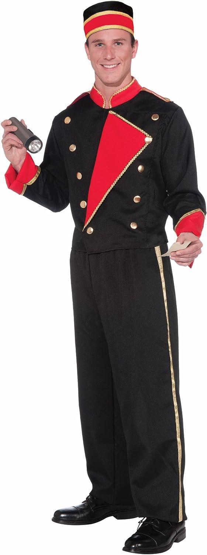 Amazon Com Forum Novelties Vintage Hollywood Movie Usher Costume Black Red Standard Clothing
