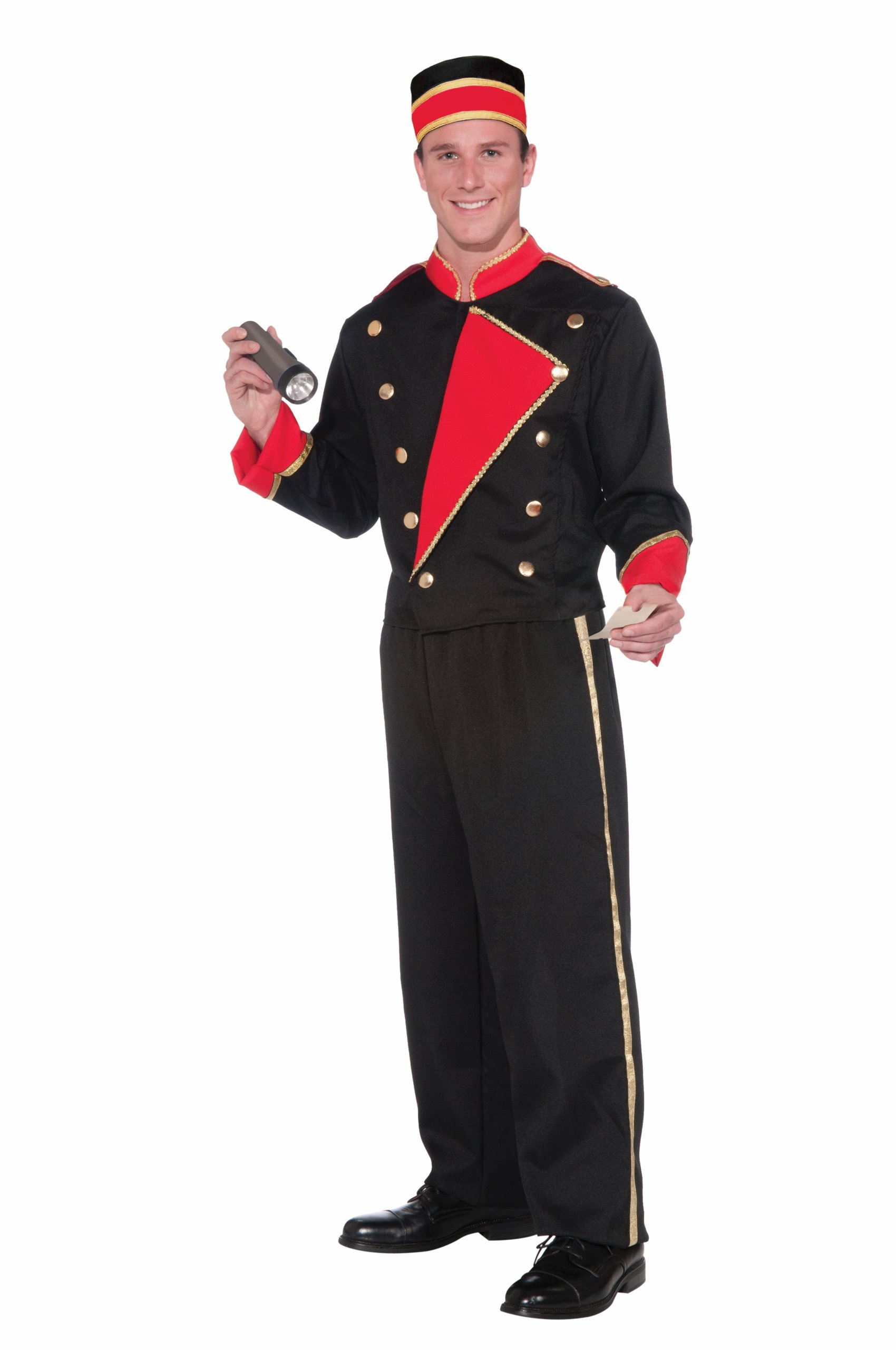Forum Novelties Vintage Hollywood Movie Usher Costume, Black/Red, Standard by Forum Novelties