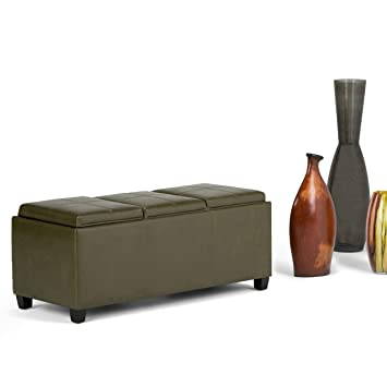 Awe Inspiring Wynden Hall Franklin Storage Ottoman With 3 Serving Trays Deep Olive Green Ncnpc Chair Design For Home Ncnpcorg