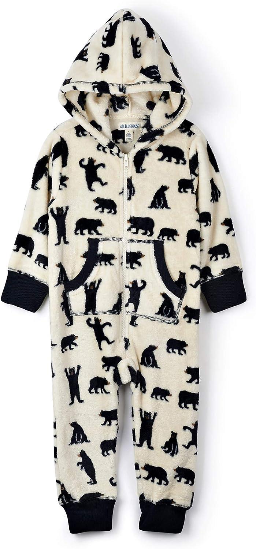 Hatley Hooded Fuzzy Fleece Black Bear Family Jumpuits Onesie para Mujer