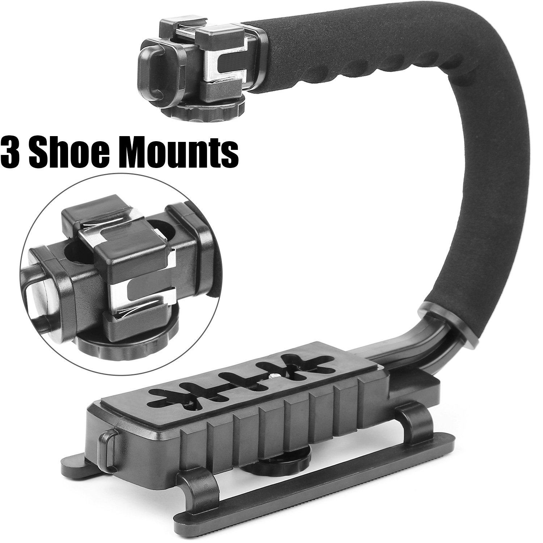 Camera Handle Grip Stabilizer Triple 3 Shoe Mount Camcorder Stabilizer Scorpion Handle Grip Video Action Stabilizing Handle Grip for DSLR Camera Camcorder Canon Nikon Sony iPhone 7 Plus