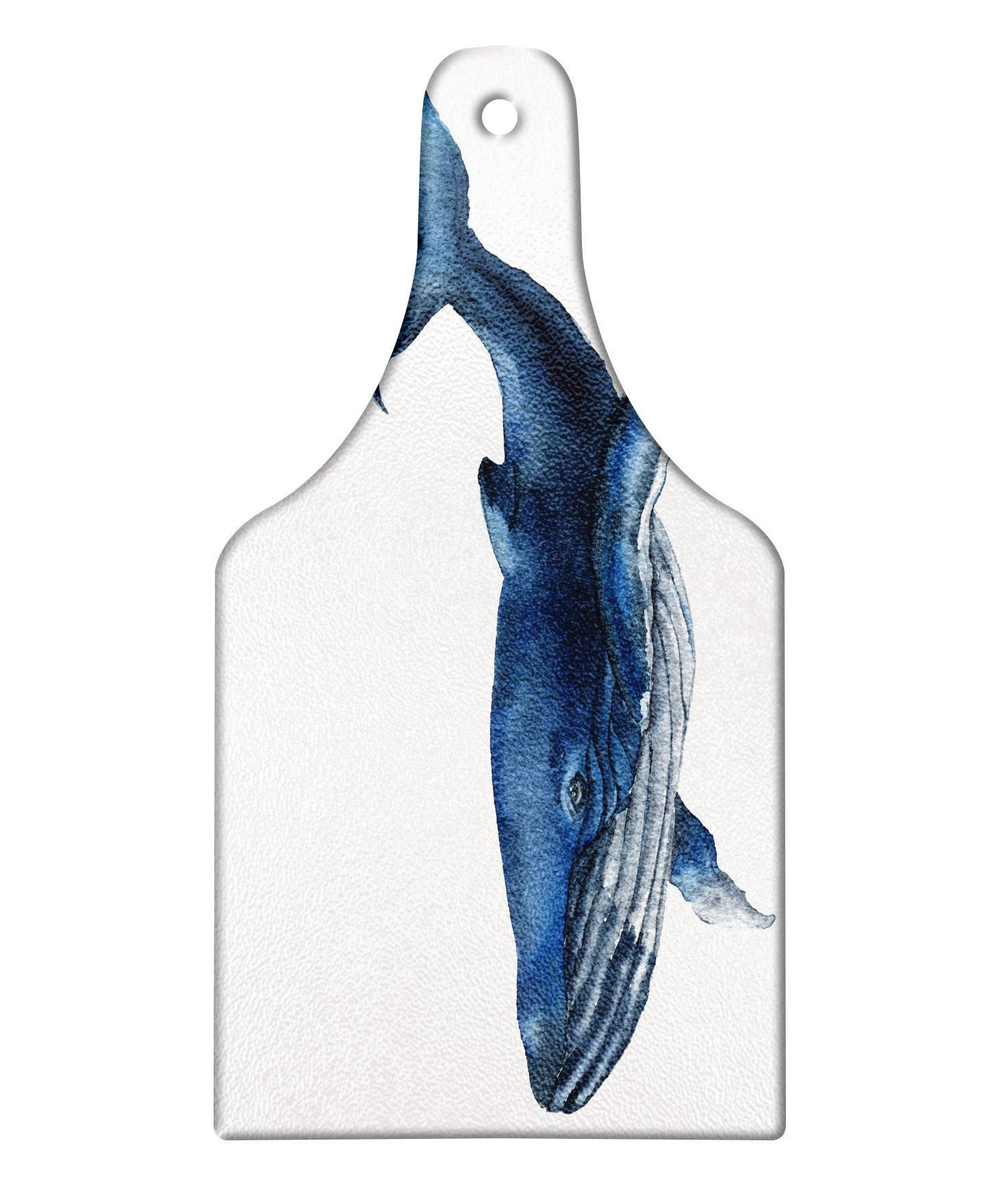 Lunarable Whale Cutting Board, Giant Fish Swimming Aquatic Marine Mammal Wildlife Defender Animal Artsy Display, Decorative Tempered Glass Cutting and Serving Board, Wine Bottle Shape, Dark Blue Grey