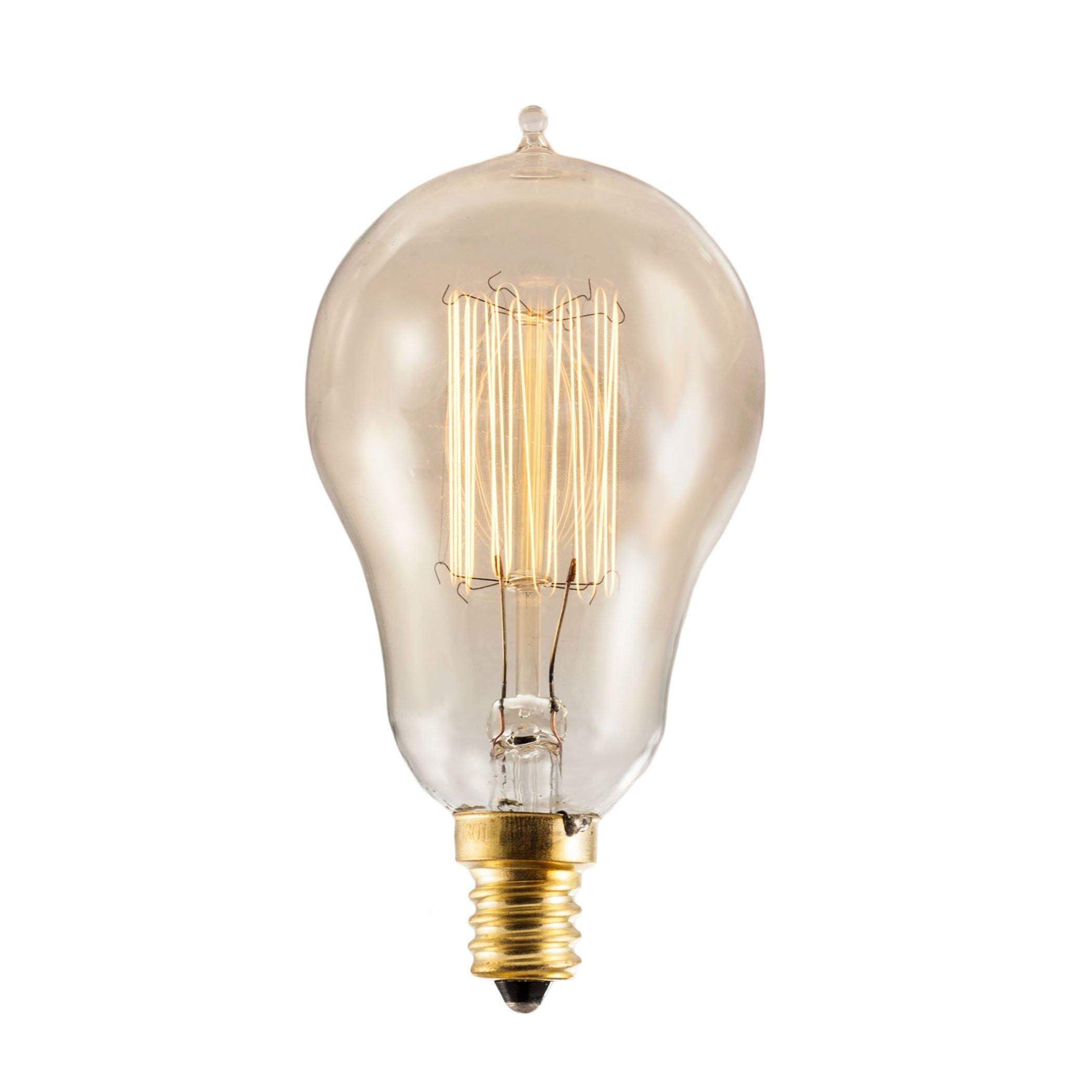 Bulbrite NOS25A15/SQ/E12 25-Watt Nostalgic Incandescent Edison A15, Vintage Thread Filament, Candelabra Base, Antique, 10 Bulbs